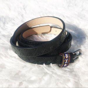 Sam Edelman Skinny Aztec Embroidered Fashion Belt